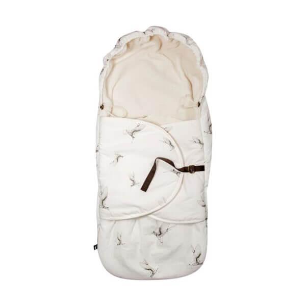 Mies & Co footmuff Cloud Dancers offwhite voetenzak wit met kolibrie print vogels