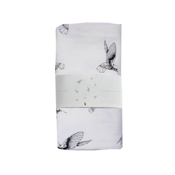 Swaddle big Cloud Dancers white Mies & Co baby lifestyle