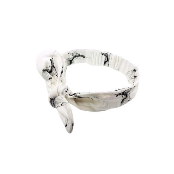 Mies & Co hair ribbon Cloud Dancers Wit haarbandje met kolibrie print