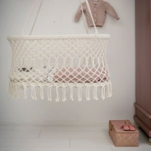 Rock that label hanging bassinet - Mies & Co baby lifestyle. Elegant cradle or crib for your baby